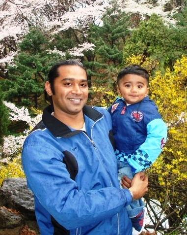Chief Officer Syam Chetan and his young son