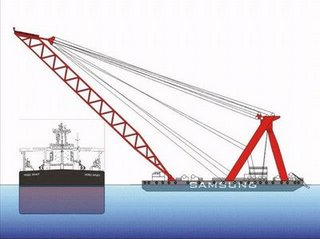 The Hebei Spirit and the relative height and size of the Samsung Heavy Industries No.1 barge crane